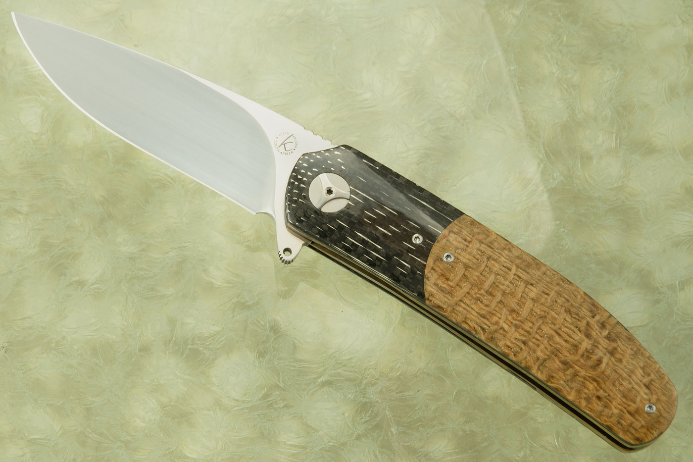 K1 Flipper with Hemp Burlap Micarta and Nickelwire Carbon Fiber (Ceramic IKBS)