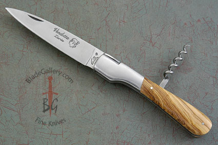 Vendetta Picnic Knife with Corkscrew and Olive Wood