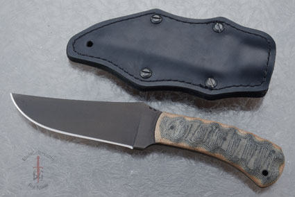 Belt Knife -- Wasp -- Sculpted Black/Brown Micarta and Caswell Finish