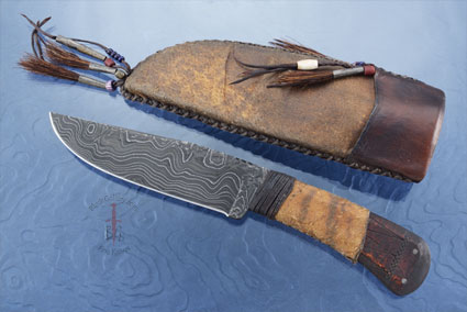 Field Knife with Maple, Tribal Markings and Damascus