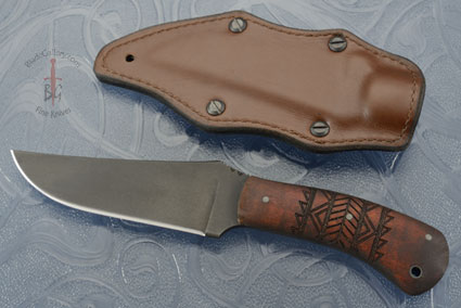 Belt Knife with Maple, Tribal Markings and Caswell Finish