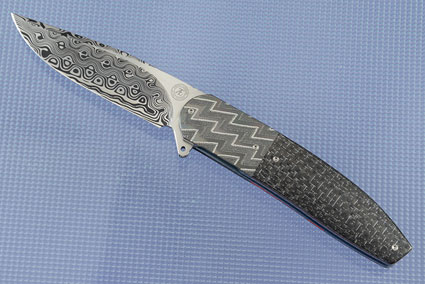L28M Flipper with Damascus, Silver Strike Carbon Fiber and Engraved Zirconium (Ceramic IKBS)