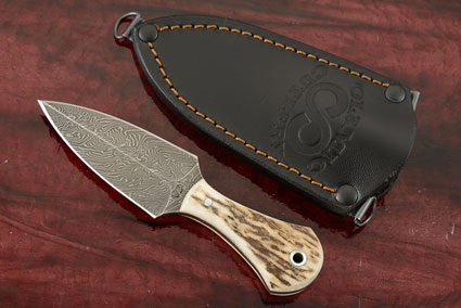 Damascus Push Dagger with Stag