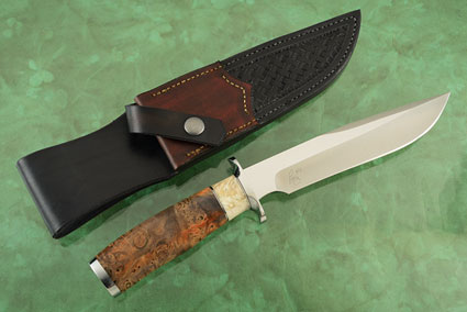Bowie with Box Elder Burl and Muskox Horn (40th Anniversary Knife)