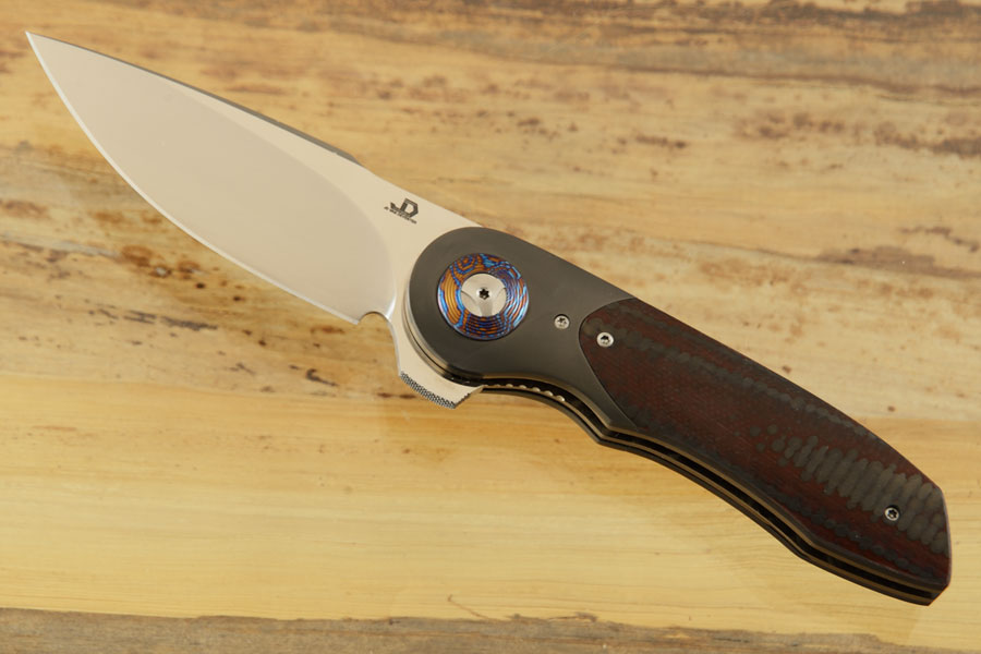 Gold Mini Flipper with Red/Black Carbon Fiber, Zirconium, and Timascus Pivot Collar (IKBS)